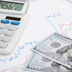 US Tax Form 1040 with calculator and US dollars - 1 to 1 ratio