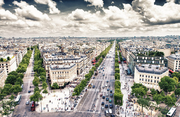 Paris. View of city streets at Etoile roundabout. Aerial panoram