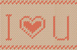 Vector knitted background. I love you pattern