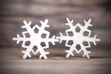 Two Snowflakes on Wood II
