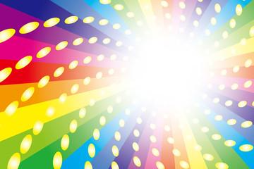 背景素材壁紙(虹, 虹色, レインボー, 放射放, 射状, 光の玉, )