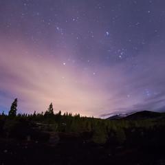Vulkane Teide und Pico Viejo auf Teneriffa bei Nacht