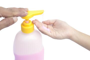 Liquid soap pump dispenser isolated.