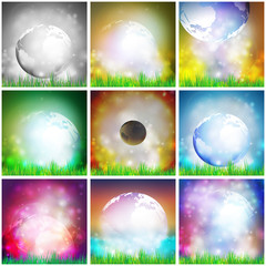 Set Of Colored Abstract Background of globe with grass vector