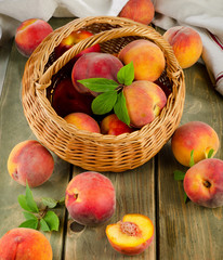 fresh peaches in basket