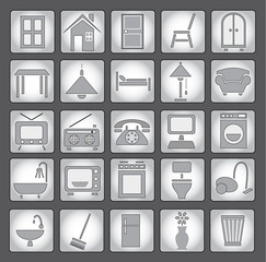 Common house appliances - grey icon set