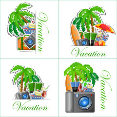 Отдых и путешествия фон, векторные иллюстрации