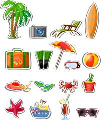Отпуск и путешествия иконы, векторные иллюстрации