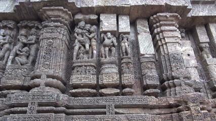 ancient erotic sacred art sculptures on Konark sun temple