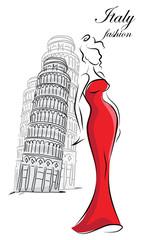 Модные девушки в Италии, вектор фон