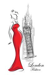 Модные девушки в Лондоне, вектор фон