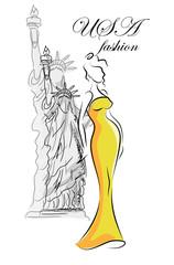 Модные девушки в США, вектор фон