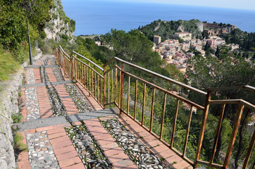 Steep pass above the Sicilian town Taormina