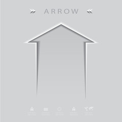 Sharp abstract metal arrow icon set,