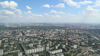 Spectacular aerial view (340 m) of Moscow, Russia.