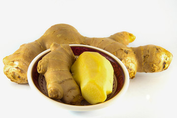 Fresh Ginger on White background, Isolated