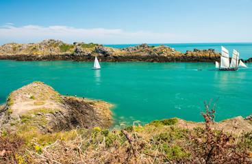 Beautiful coast of Brittany, France. Bretagne ocean between Canc