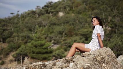 Girl in dress on beach