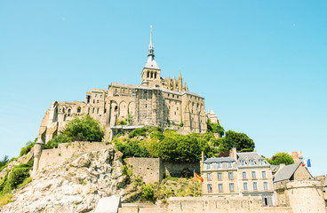 Mont Saint Michel, Haute Normandie. Beautiful view of Abbey and