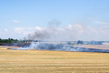 fire on a rural field