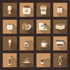 Coffe flat icons set