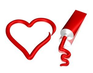 Farbtube und Herz