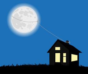 illustrazione di casetta con luna piena