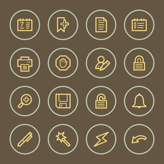Organizer web icons set, coffee series