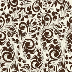 Khohloma style seamless floral pattern.