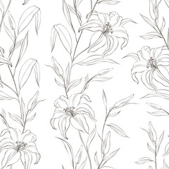 Floral seamless pattern with gentle lily flowers.