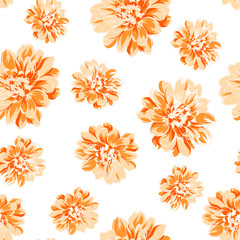 Color seamless pattern of peony flower.