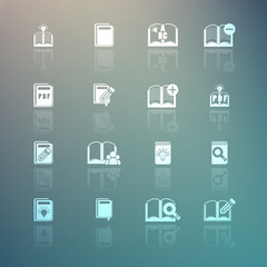 Set of books icons on Retina background