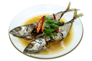 crisp-fried fish on white background