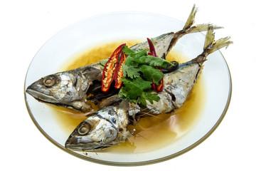 crisp-fried fish on white background