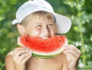 boy and watermelon