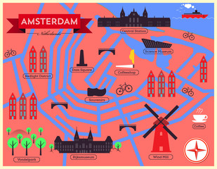 City Map Illustration of Amsterdam
