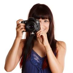 hübsche Frau fotografiert mit einer Kamera