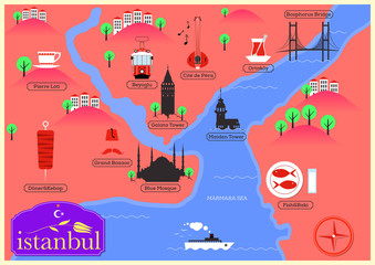 City Map Illustration of Istanbul