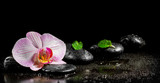 Orchid flower with mint leaves and zen stones on black backgroun