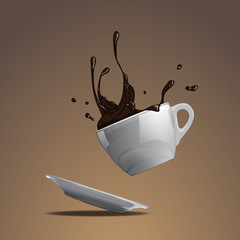 Splash of coffee in the falling cup vector