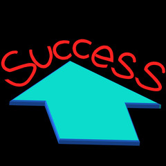 success text with growth arrow on black background