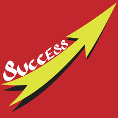success text with growth arrow on red background