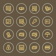 Banking web icons set, coffee series