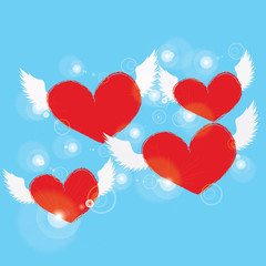 red heart with white angel wing on blue background