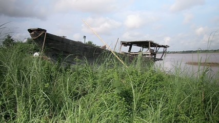 Old wood boat wrecked. Cambodia