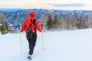 Mountaineer walking in a snowand wind on a Peca mountain