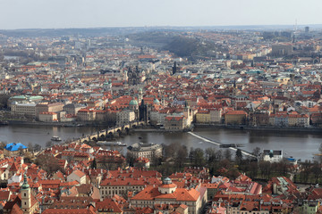 Skyline of Prague from Petrin hill