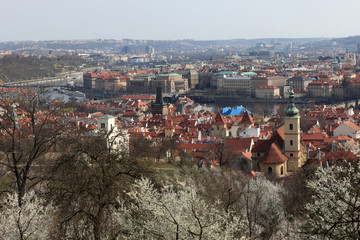 Skyline of Prague in spring
