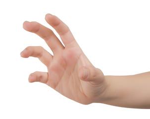 women hand on white.