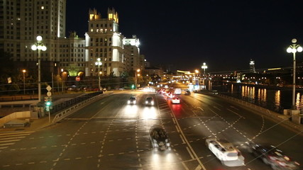 Embankment of the Moskva River and the night traffic, Moscow